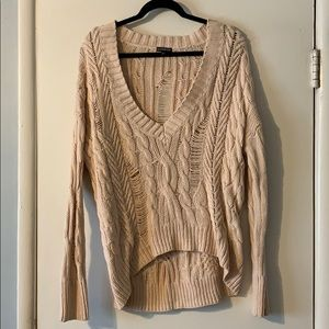 Express knit deep V-neck tunic sweater - pale pink